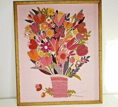 Vintage 70s Jacobean Crewel Embroidery Pink Fanciful Flowers Vase Framed Paragon