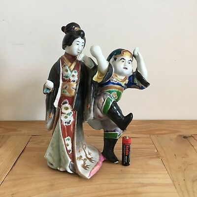 Early 1900's Antique Chinese Porcelain Male And Female Warrior Figures 9.5 Inch