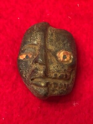 """Pre-Columbian Aztec Incan, Mayan, Carved Stone """"Life/Death Duality"""" Pendant"""