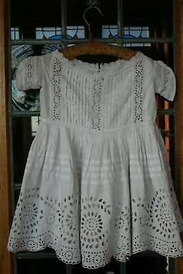 Exquisite Antique Baby Girls Dress Broiderie Anglaise & Pintucks.