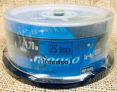NEW SEALED INTENSO DVD+R DISKS 25 COUNT RW 4.70GB 1x-4x ** U.S. SELLER **