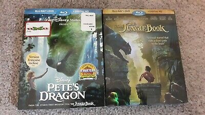 Disney Petes Dragon & The Jungle Book (Blu-ray/DVD) with slipcovers