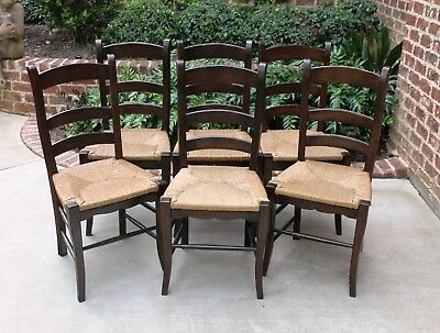 Antique French Country Oak Farmhouse Ladder Back Chairs Rush Seats Set of 6