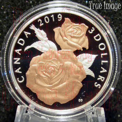 2019 - Queen Elizabeth Rose Blossoms - $3 Pure Silver Proof Coin - Canada