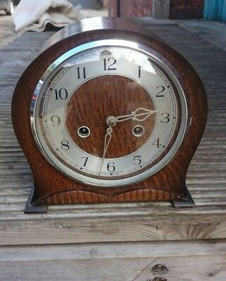 Art Deco Smiths oak case Striking Mantel Clock GWO