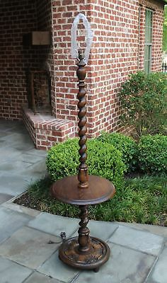 Antique English Oak Barley Twist Floor Lamp End Table Rewired 1930s #2