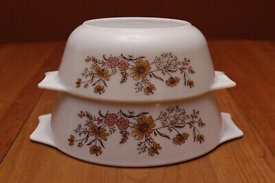 Vintage JAJ Pyrex England Country Autumn Nesting Casserole Dishes x2 Gently Used
