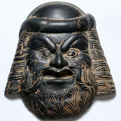 A Greek Theater Male Mask - Black Stone (Onix?) 200-50 BC-Extremely Rare