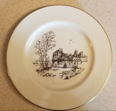 Lenox Stagecoach China Dinner Plate Special Edition Gold Rimmed 10 5/8 inch USA