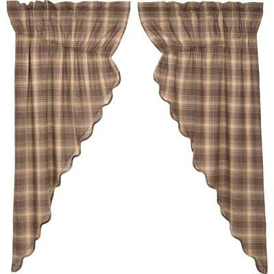 VHC Primitive Farmhouse Country Curtains Swags Priarie Valance Dawson Star Pair