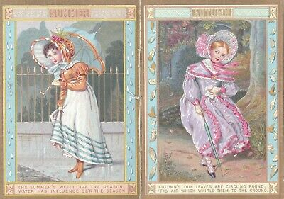 VINTAGE VICTORIAN Trade Card Calendar of the Seasons 1880, Quite Lovely Booklet*