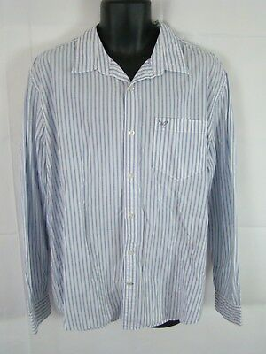 89720281 American Eagle Outfitters Button Front Shirt Men's Size XXL Blue/White  Striped L