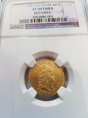 1796 Draped Bust, 2 1/2 Gold No Stars Quarter Eagle, Ngc Xf Detail, 897 Minted!