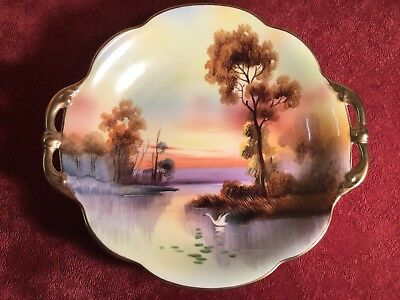 Noritake Hand Painted Landscape 2-Handled Bowl Antique Japanese Porcelain Swans