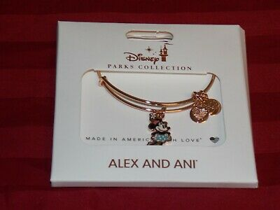 Disney Parks Alex and Ani Minnie Mouse Gold  Bangle Bracelet Classic Silhouette