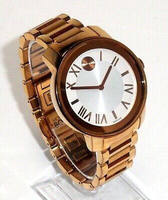 8d0df9d311e Movado  595 Womens Rose Gold Stainless Steel Bold Swiss Watch 3600200 White  Dial