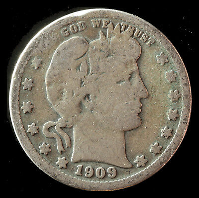 1909-P Barber 90% Silver Quarter Ships Free. Buy 5 for $2 off