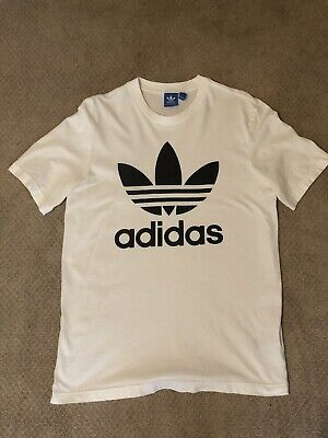 84cd2783852 Adidas Originals Men s Short-Sleeve Trefoil Logo Graphic T-Shirt White  Medium