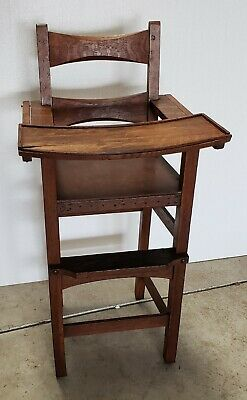 Limbert Branded Mission Oak Arts & Crafts Baby High Chair some damage as-is