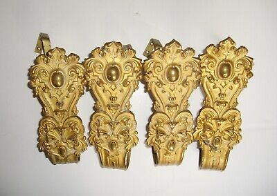 Gilt Repousse Curtain Tiebacks Antique Set 4