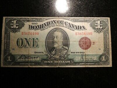 1923 DOMINION OF CANADA ONE DOLLAR $1 DC-25i MCCAVOUR SAUNDERS B3656490 GROUP 2