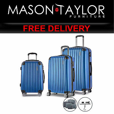 MT Wanderlite 3 Piece Luggage Suitcase Trolley - Blue LUG-ABS-SPA-3SET-BU AU