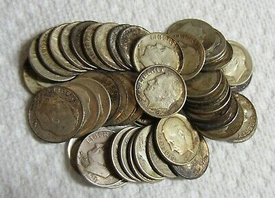 Complete $5 Roll of Fifty 50 90% Silver Roosevelt Dimes Mixed Dates P, D & S