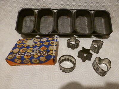 Rare Vintage 5 Mini Madeleine Cake Baking Tin Sponges Nutbrown Cookie Cutters
