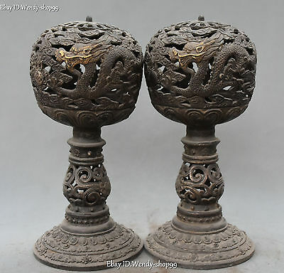 "12"" Antique Chinese Old Silver Gild Dragon Loong Incense Burner Censer Pair"