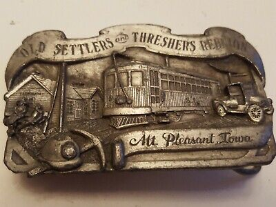 OLD SETTLERS and OLD THRESHERS REUNION, Mt. Pleasant , IA 1984 Metal Belt Buckle