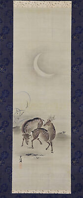 """JAPANESE HANGING SCROLL ART Painting """"Deer and Moon"""" Asian antique  #E6705"""