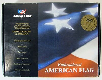 5'x8' FT American Flag USA US Embroidered Stars Sewn Stripes Brass Grommets