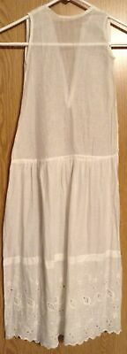 Vtg Girls Full Slip Wide Embroidered Eyelet Hem Sheer Cotton Drop Waist Handmade