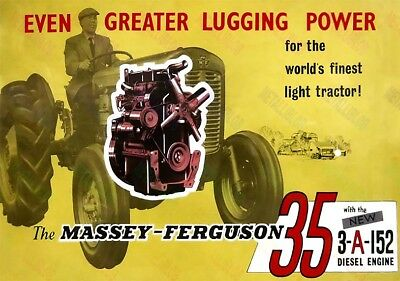 Massey Ferguson 35 Tractor & 3-A-152 Diesel Engine Advert Poster (3 for 2 offer)