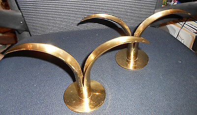Mid Century Pair of Lily Shaped Ystad Metalll Candelstick Holders