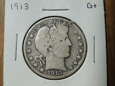 BETTER DATE 1913 Barber Half Dollar, Good+ details, CLEARANCE