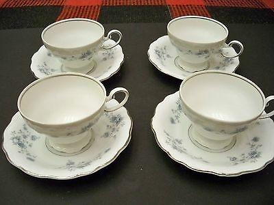 Johann Haviland 4 Footed Cups And 4 Saucers  Bavaria Germany Blue Garland
