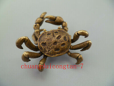China Old Collectibles Pure brass crab small pendant