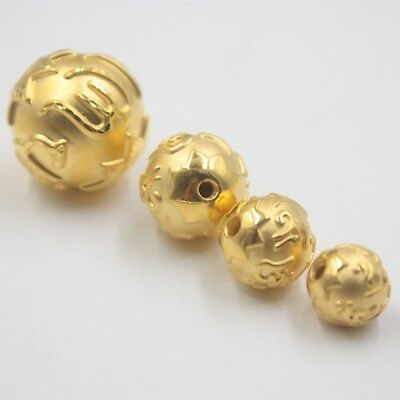 1pcs New Pure 24K Yellow Gold Pendant Man Woman's Lucky Six Word Maxim Bead