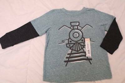 Jumping Beans 24 mos Mock Layer Graphic Tee TRAIN Shirt Top Teal GREEN Black New