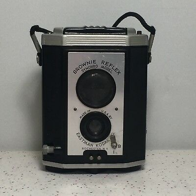 Vintage Brownie Reflex Synchro Model Camera With Strap Eastman Kodak