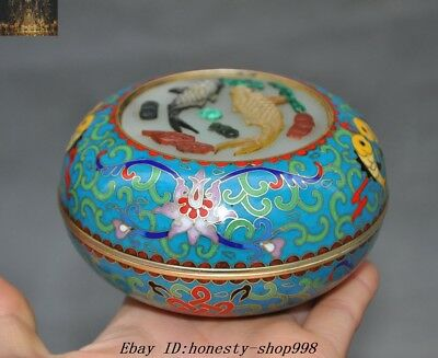 """4"""" Old Chinese Dynasty Cloisonne enamel Glass inlay Shell Wealth Fish Box Boxes"""