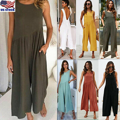 US Womens Summer Sleeveless Backless Wide Leg Culottes Loose Jumpsuit Playsuits