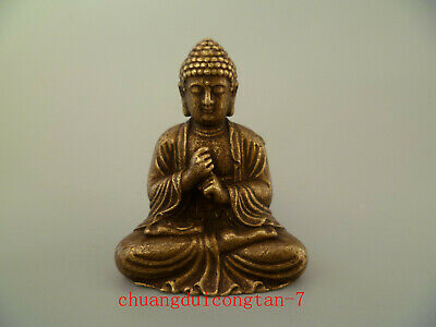 China Old Collectibles Pure brass Buddha small statue
