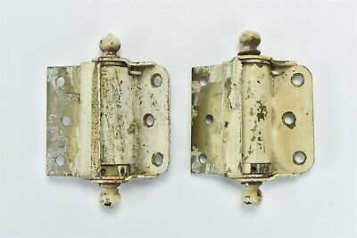 Antique PAIR of SCREEN DOOR HINGES HALF SURFACE MOUNT HARDWARE BALL FINIAL 06937