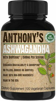 Anthony's Ashwagandha Root Supplement - 120 Veggie Capsules - 1500mg Per Serving