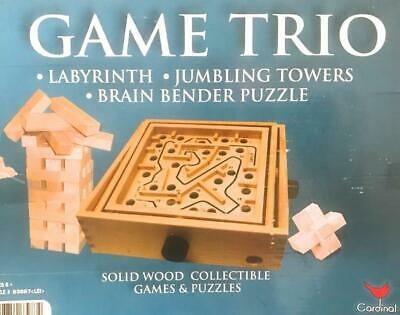 Game Trio Labyrinth Jumbling Towers Brain Bender Wooden Game Balance Puzzle Maze