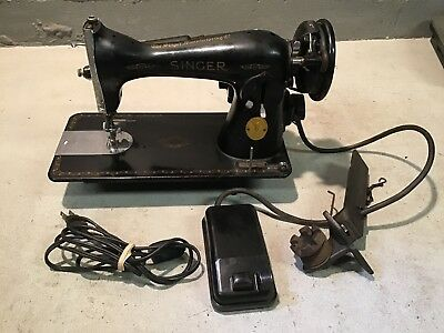 Antique SINGER CABINET MOUNT SEWING MACHINE MODEL 15 Tested W/ Pedal.