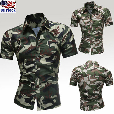29ee0bbe395 Men s Camouflage Short Sleeve Button Down Shirt Blouse Casual Slim Shirts  Tops