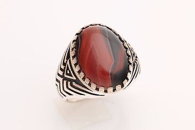 Turkish Jewelry Oval Brown Agate Stone 925 Sterling Silver Men's Ring Size 9.5